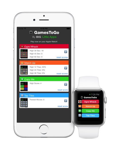 GamesToGo on iPhone and Apple Watch
